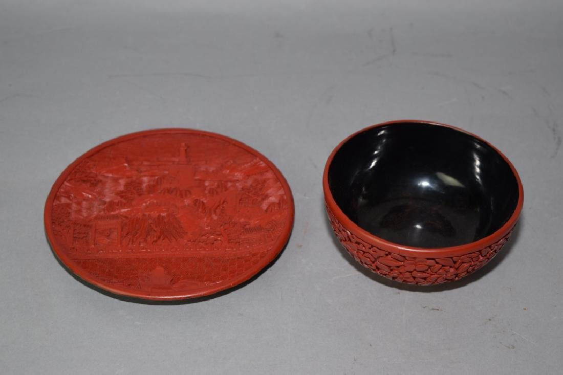 Chinese Cinnabar Carved Plate and Bowl.