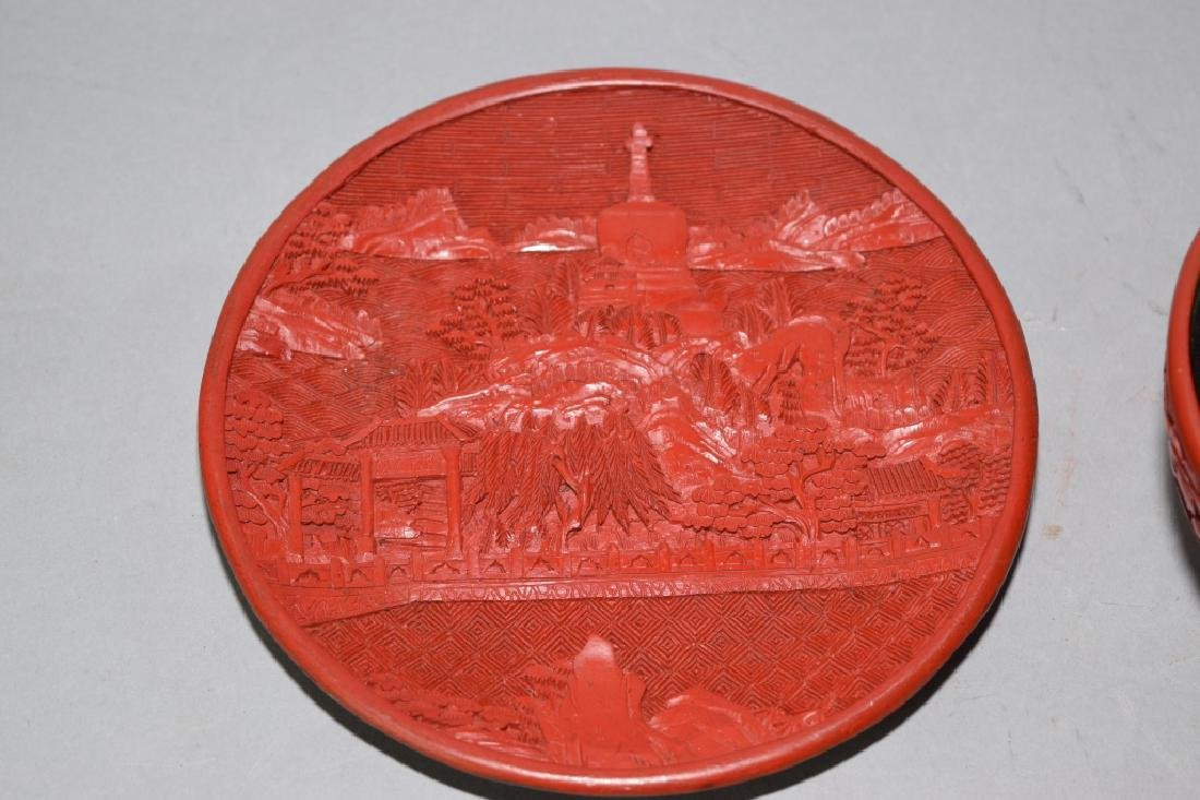 Chinese Cinnabar Carved Plate and Bowl. - 2