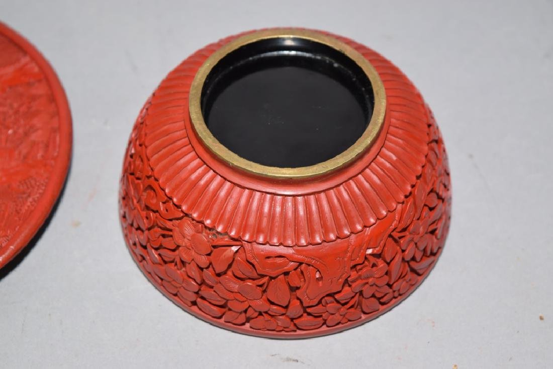 Chinese Cinnabar Carved Plate and Bowl. - 3