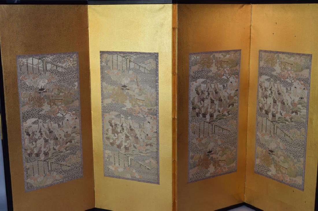 19th C. Japanese Embroidery Table Screen