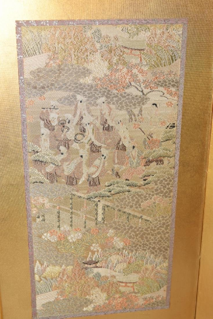 19th C. Japanese Embroidery Table Screen - 4