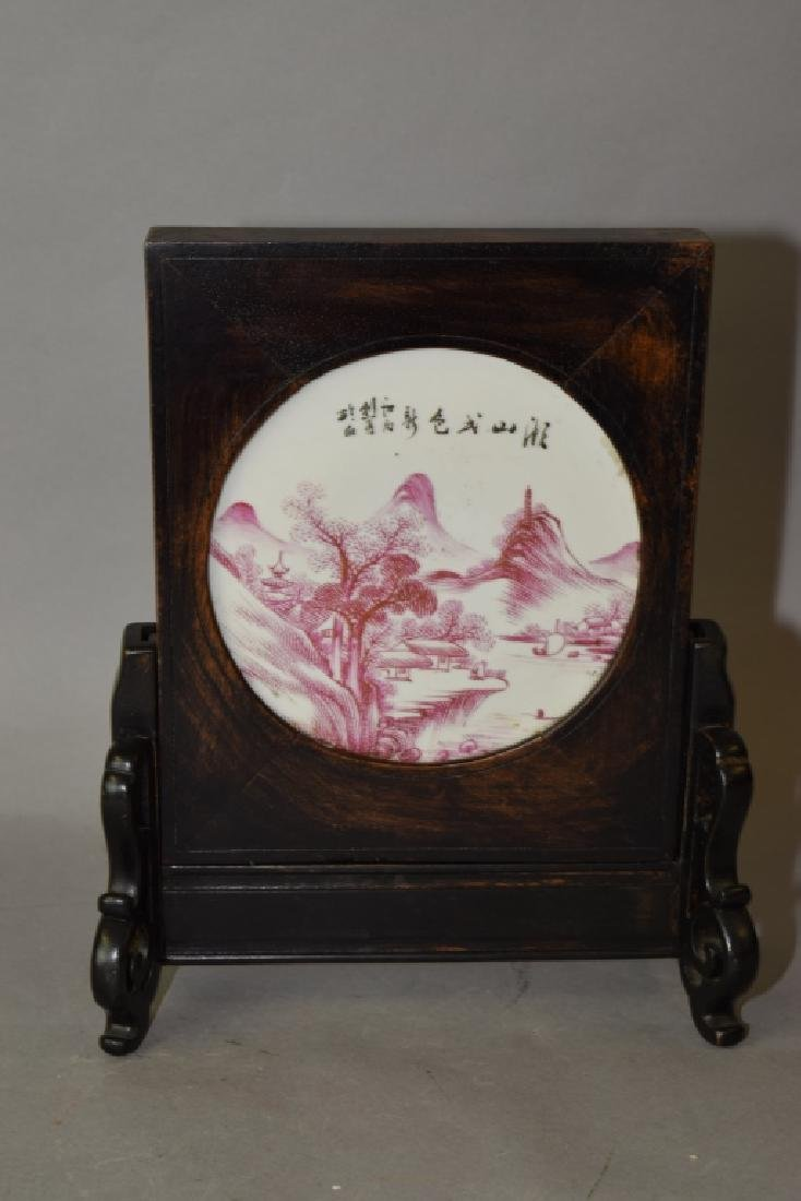 Chinese Powder Red Landscape Table Screen