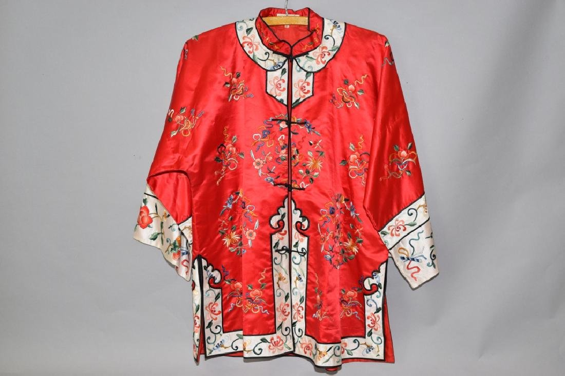 Chinese Red Embroidered Lady's Robe