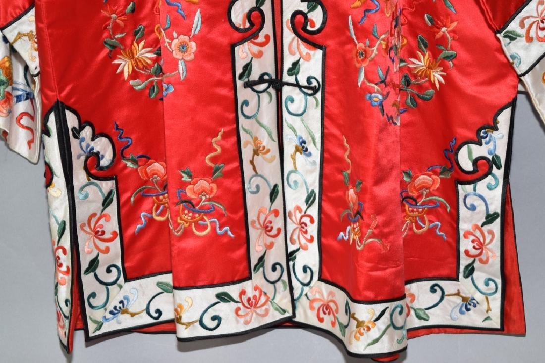 Chinese Red Embroidered Lady's Robe - 3