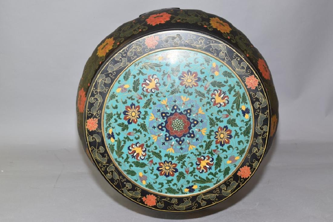 Republic Chinese Painted Lacquer Cloisonne Stool - 2