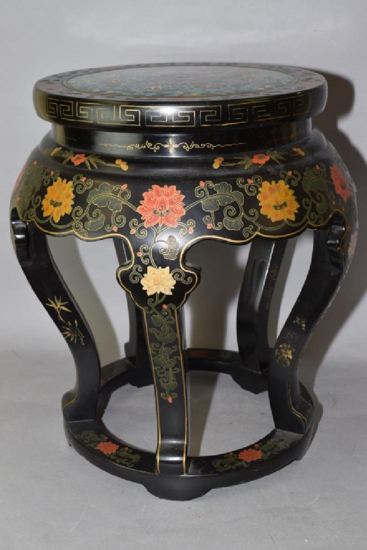 Republic Chinese Painted Lacquer Cloisonne Stool - 3