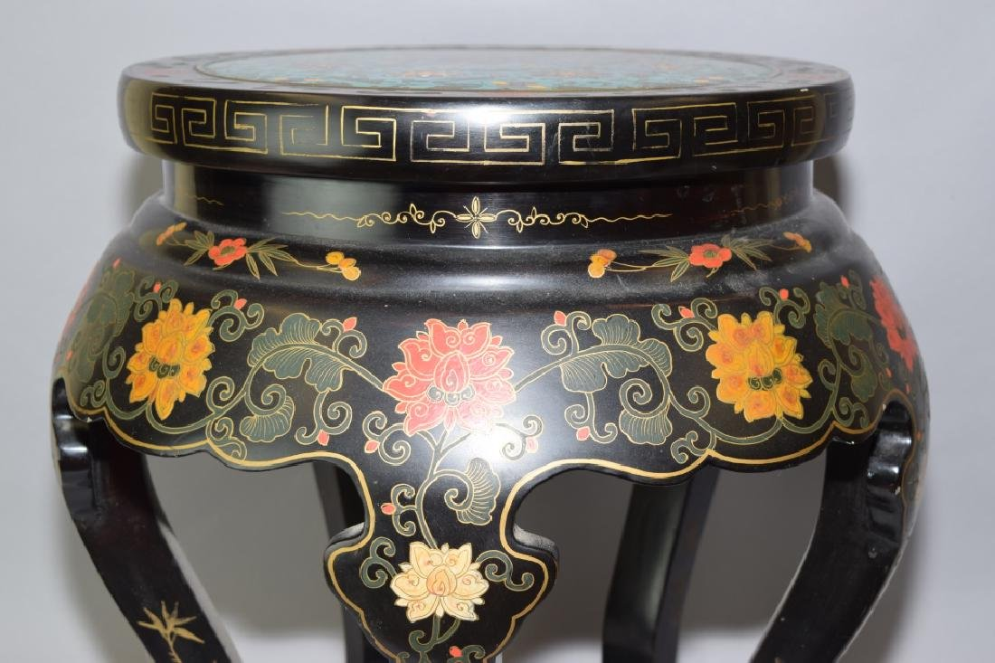 Republic Chinese Painted Lacquer Cloisonne Stool - 4