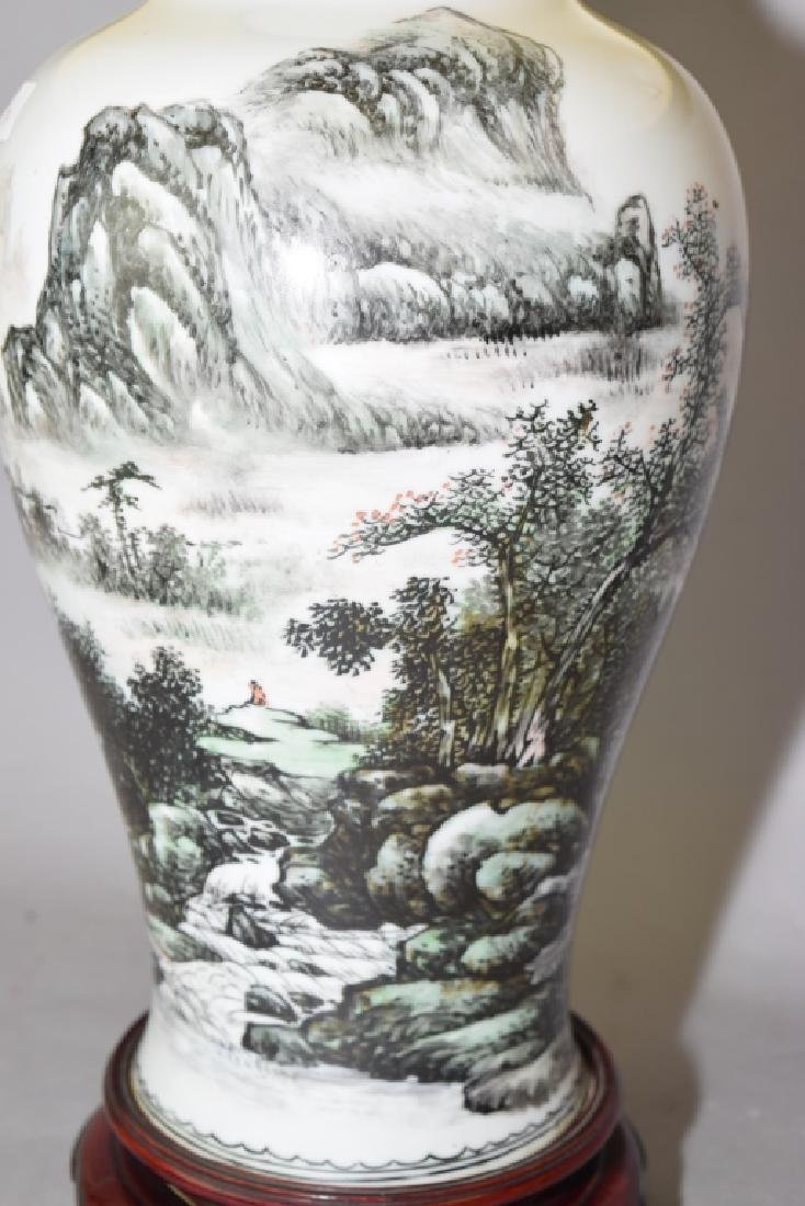 1950s Chinese Ink Glaze Vase Lamp, Wang YunQuan - 2