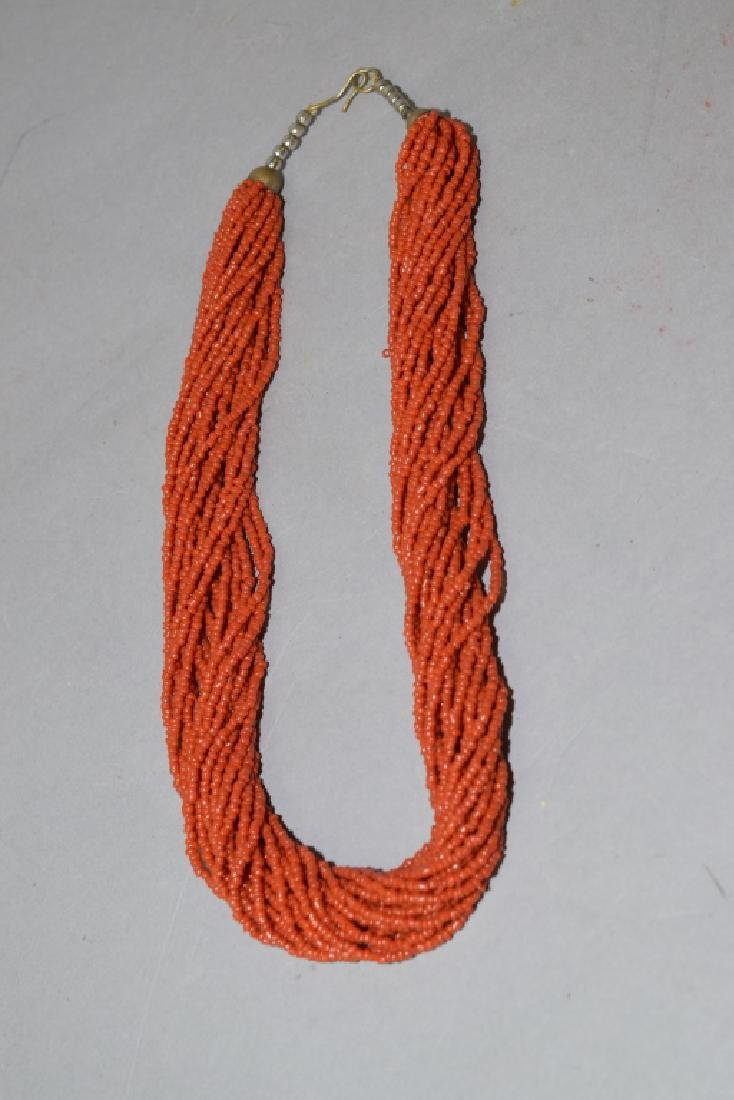 Natural Red Coral Stranded Necklace