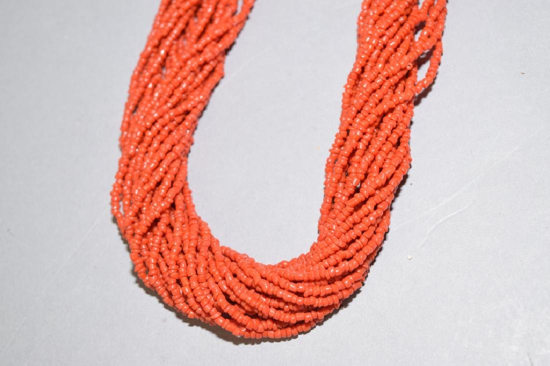 Natural Red Coral Stranded Necklace - 2