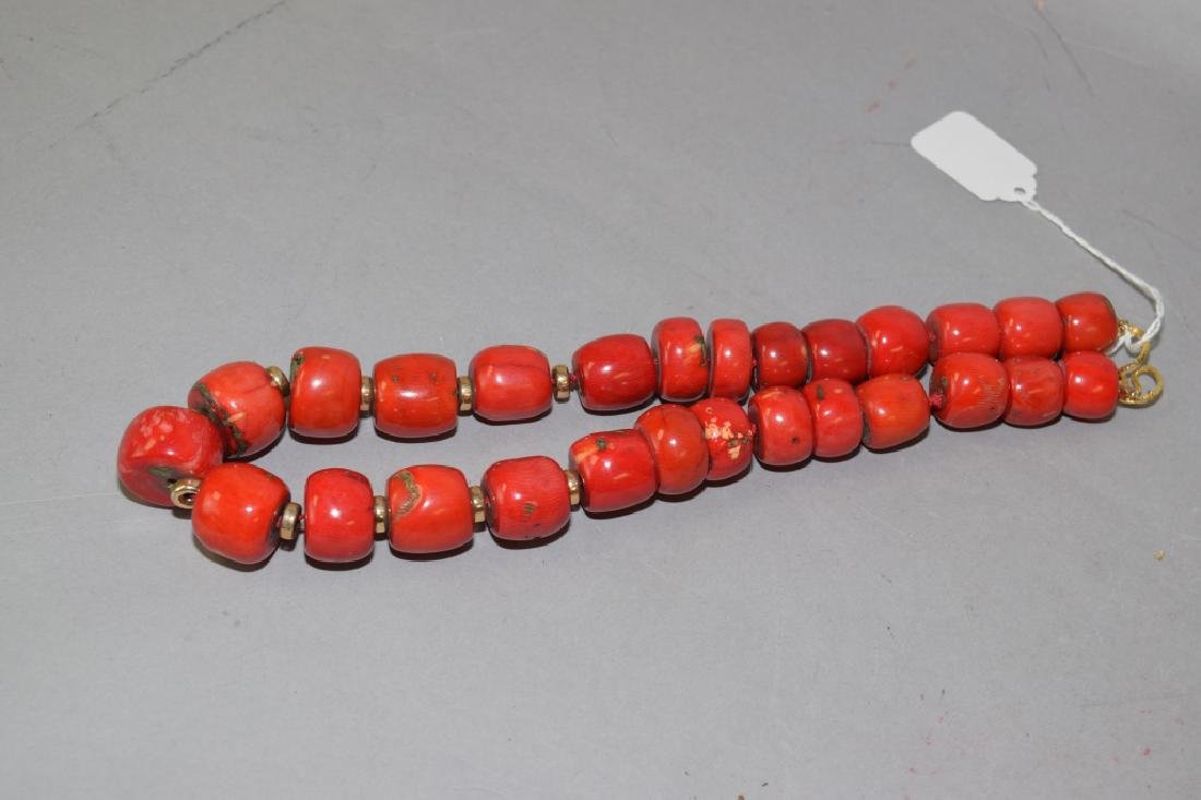 Natural Red Coral Large Bead Necklace