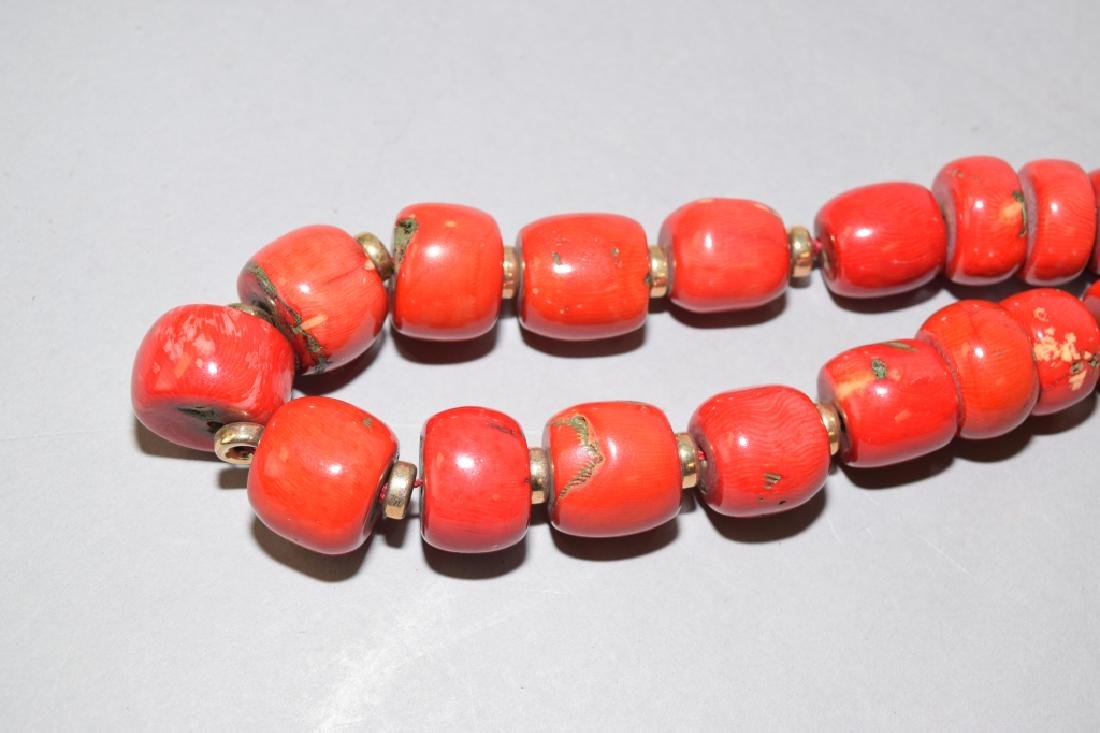 Natural Red Coral Large Bead Necklace - 2