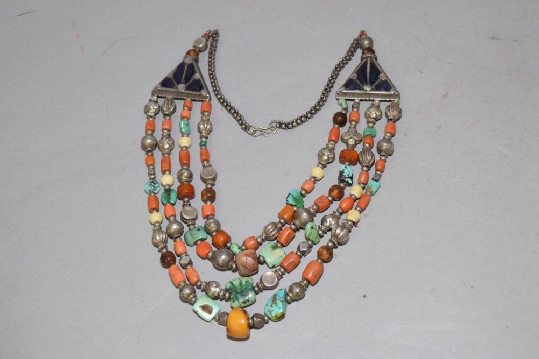 Butterscotch Amber, Coral, Turquoise Silver Necklace