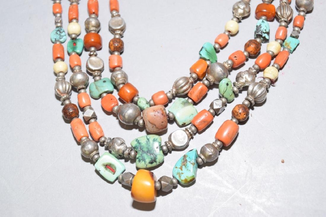 Butterscotch Amber, Coral, Turquoise Silver Necklace - 2
