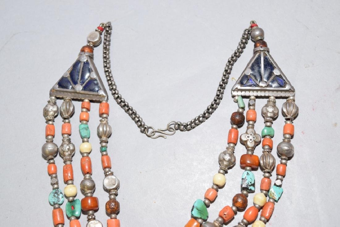 Butterscotch Amber, Coral, Turquoise Silver Necklace - 3