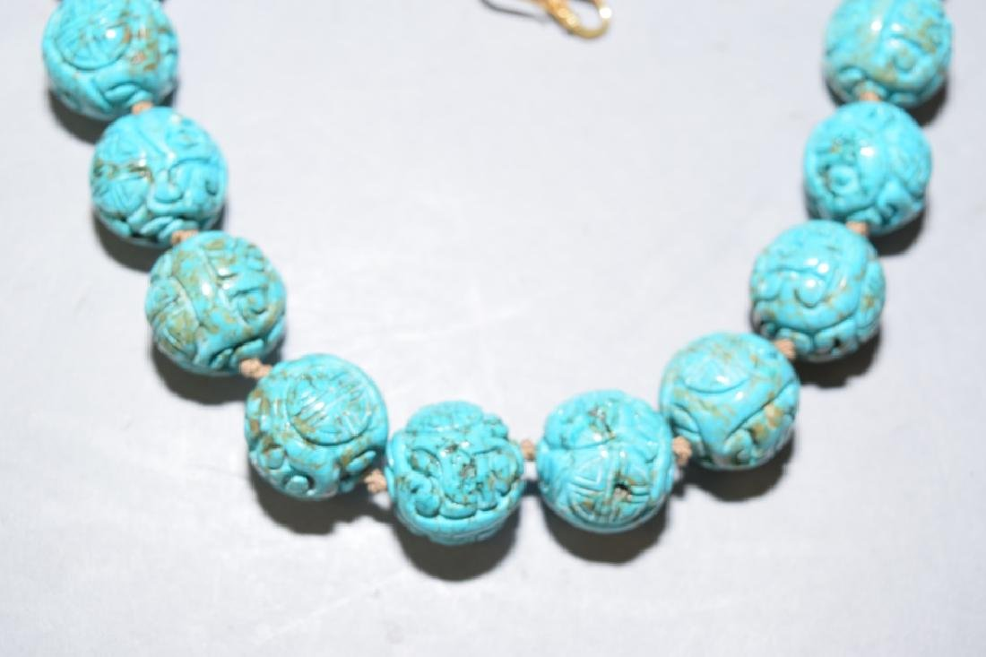 Chinese Natural Turquoise Carved Bead Necklace - 2