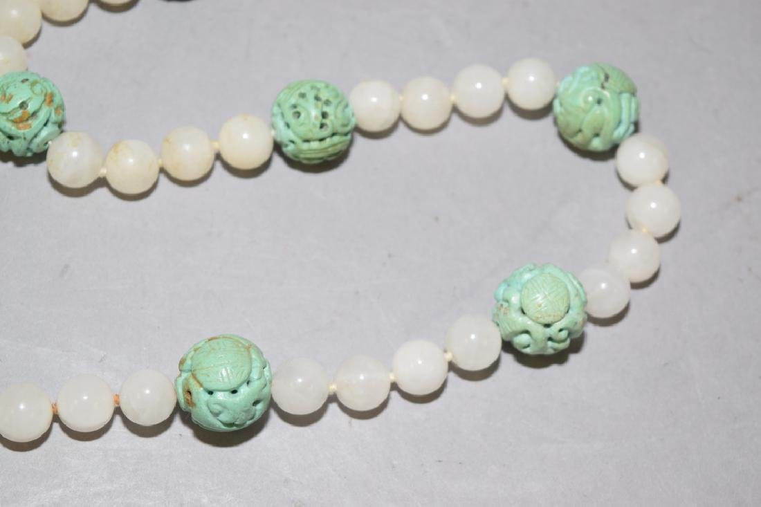 Chinese Natural Turquoise Carved Bead Necklace - 3
