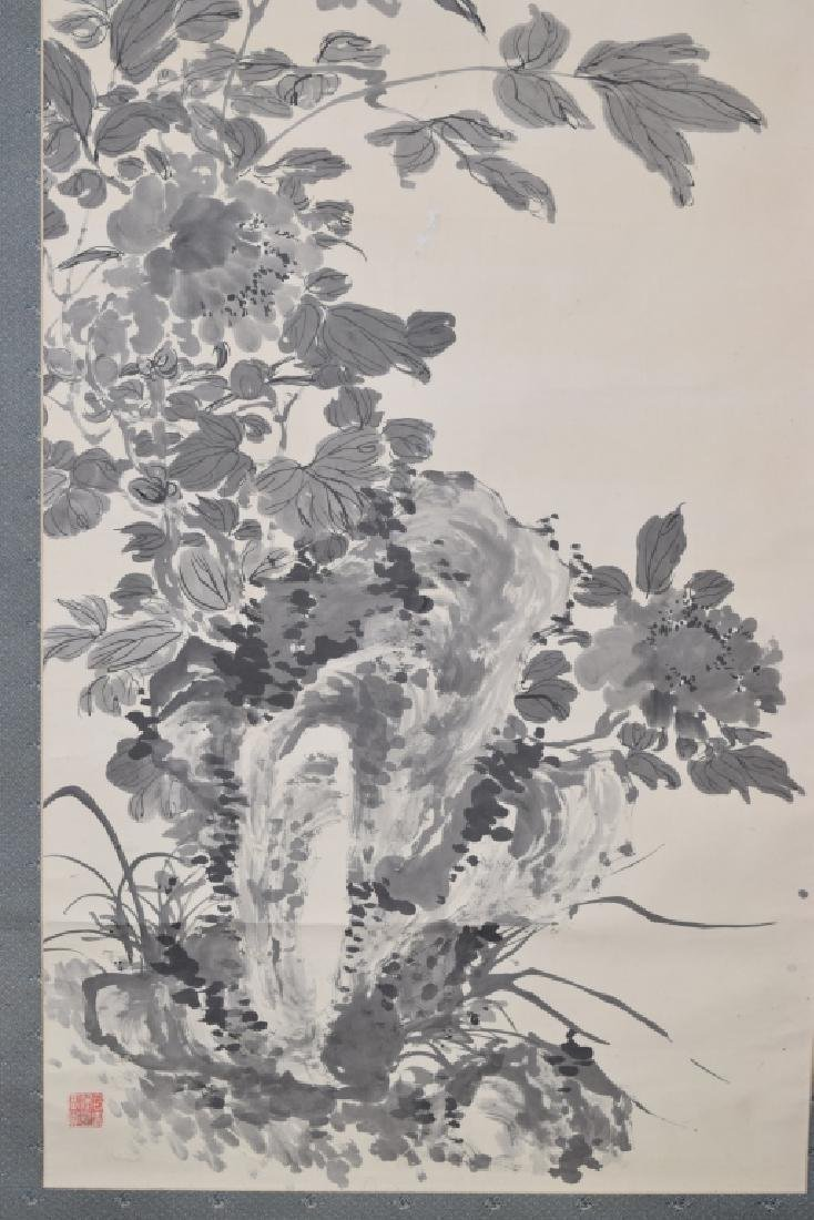 Chinese Watercolor Painting of Flowers and Rock - 4