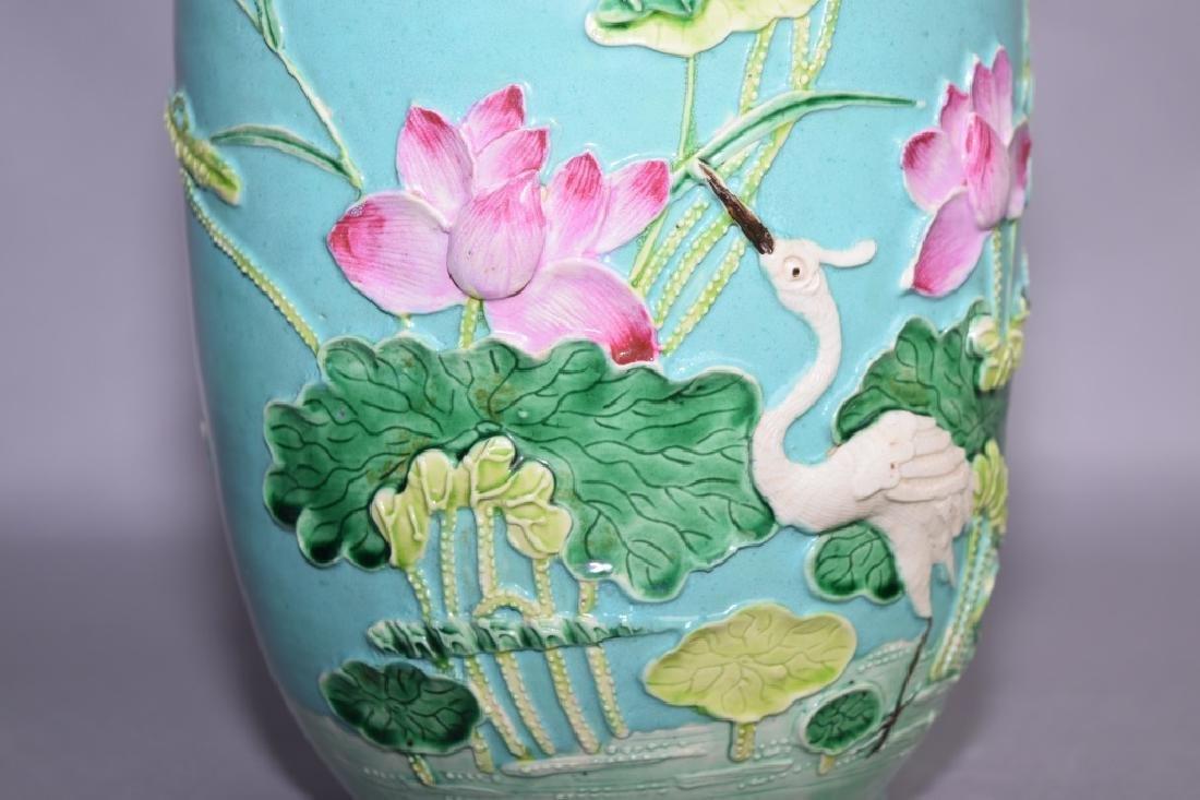 Qing Chinese Famille Rose Carved Vase, Wang BingRong - 2