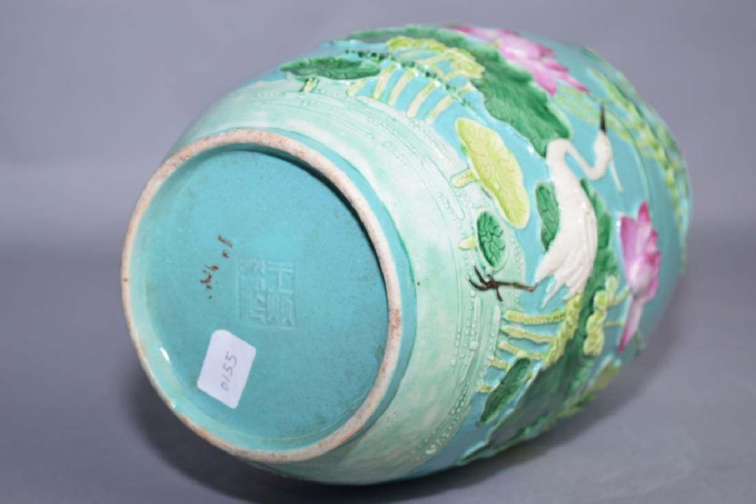 Qing Chinese Famille Rose Carved Vase, Wang BingRong - 4