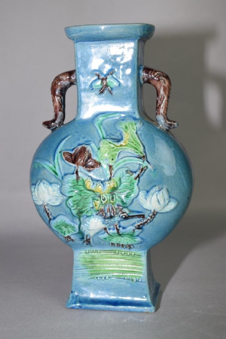 Late Qing Chinese Peacock Blue Glaze Carved Vase - 3