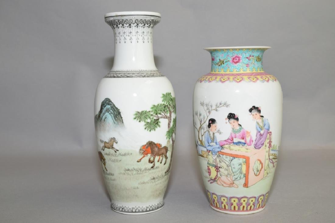 Two 20th C. Chinese Famille Rose Vases