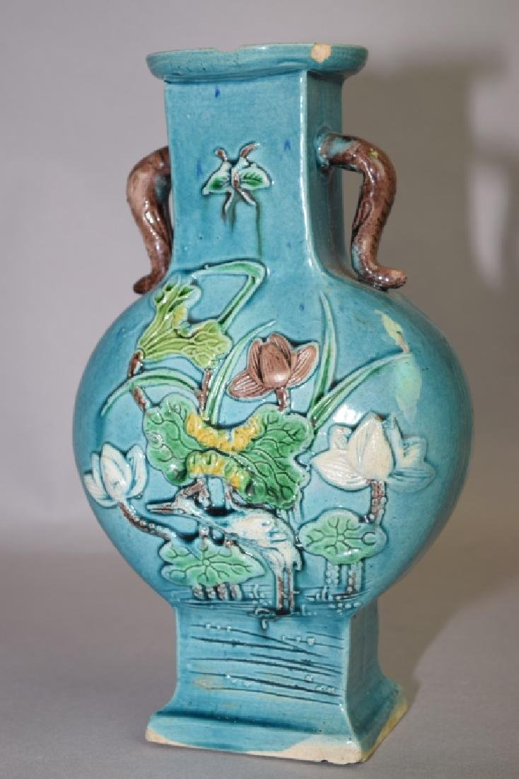 Late Qing Chinese Peacock Blue Glaze Carved Vase - 2
