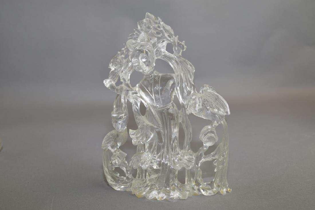 19th C. Chinese Rock Crystal Carved MaGu