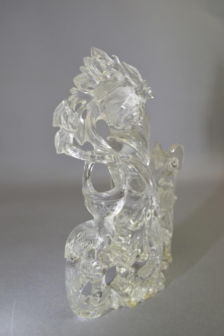 19th C. Chinese Rock Crystal Carved MaGu - 3