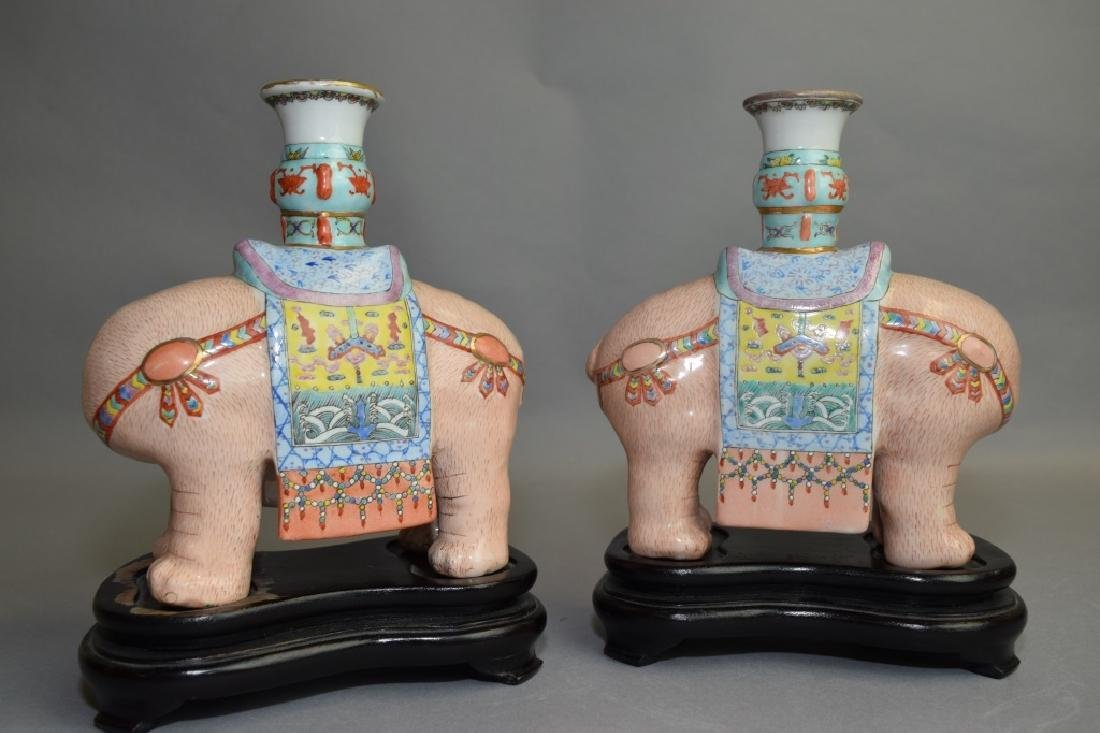 Pair of 19th C. Chinese Famille Rose Elephants - 3