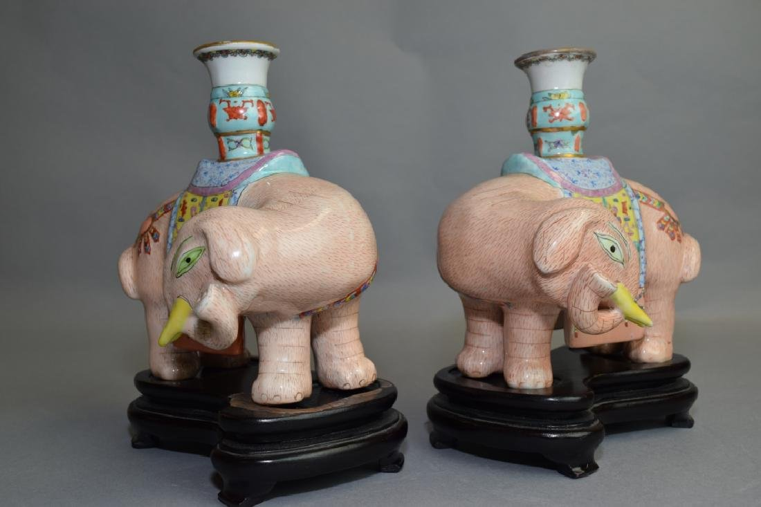 Pair of 19th C. Chinese Famille Rose Elephants - 4