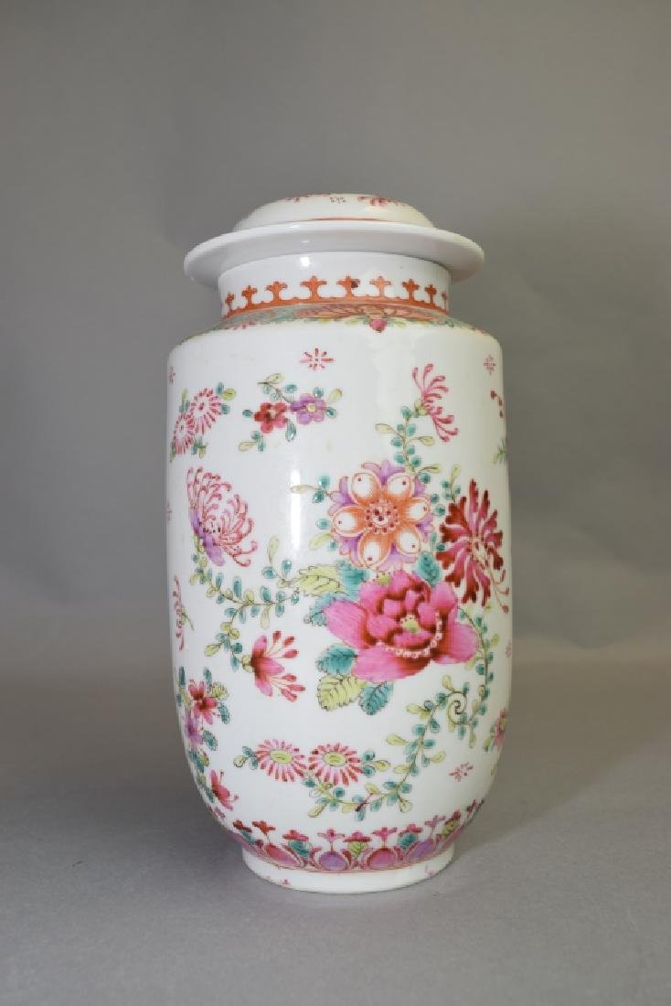 19-20th C. Chinese Export Famille Rose Covered Jar