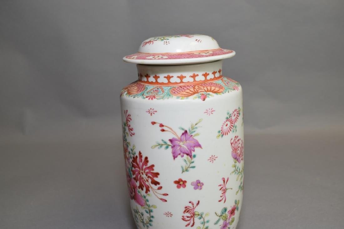 19-20th C. Chinese Export Famille Rose Covered Jar - 3
