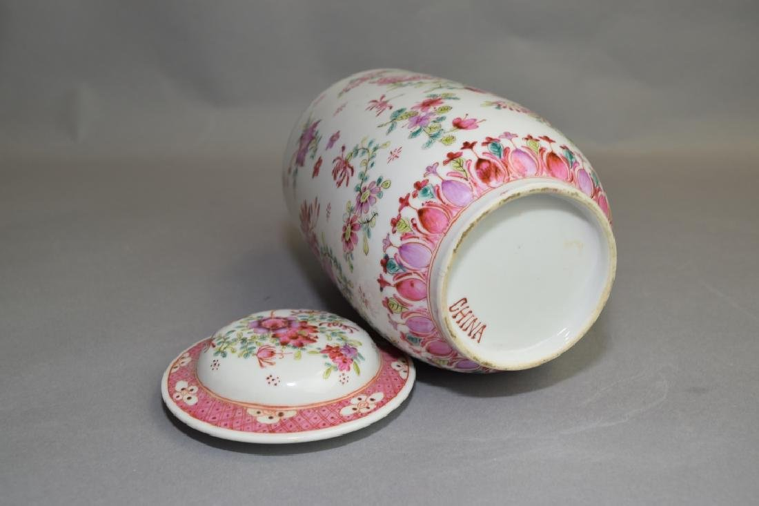 19-20th C. Chinese Export Famille Rose Covered Jar - 4