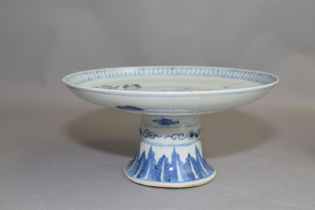 Qing Chinese Blue and White High-Foot Plate