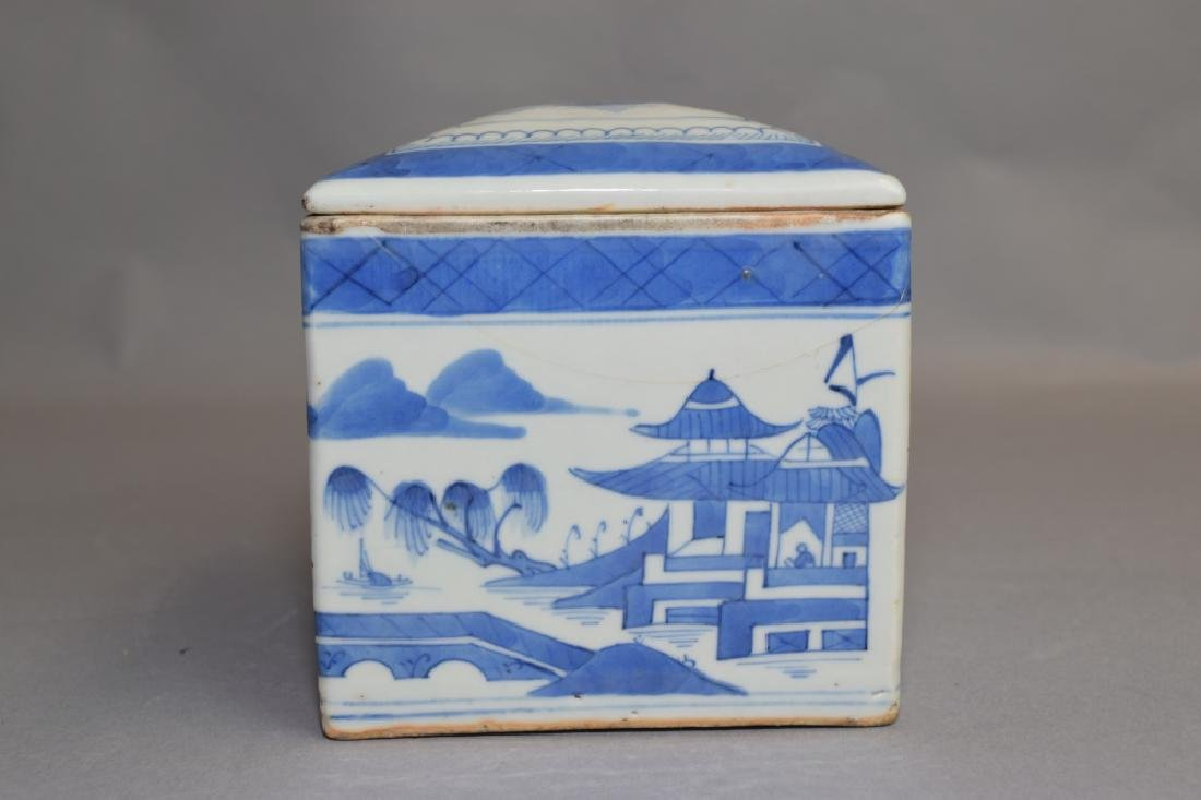 Qing Chinese Blue and White Tea Caddy