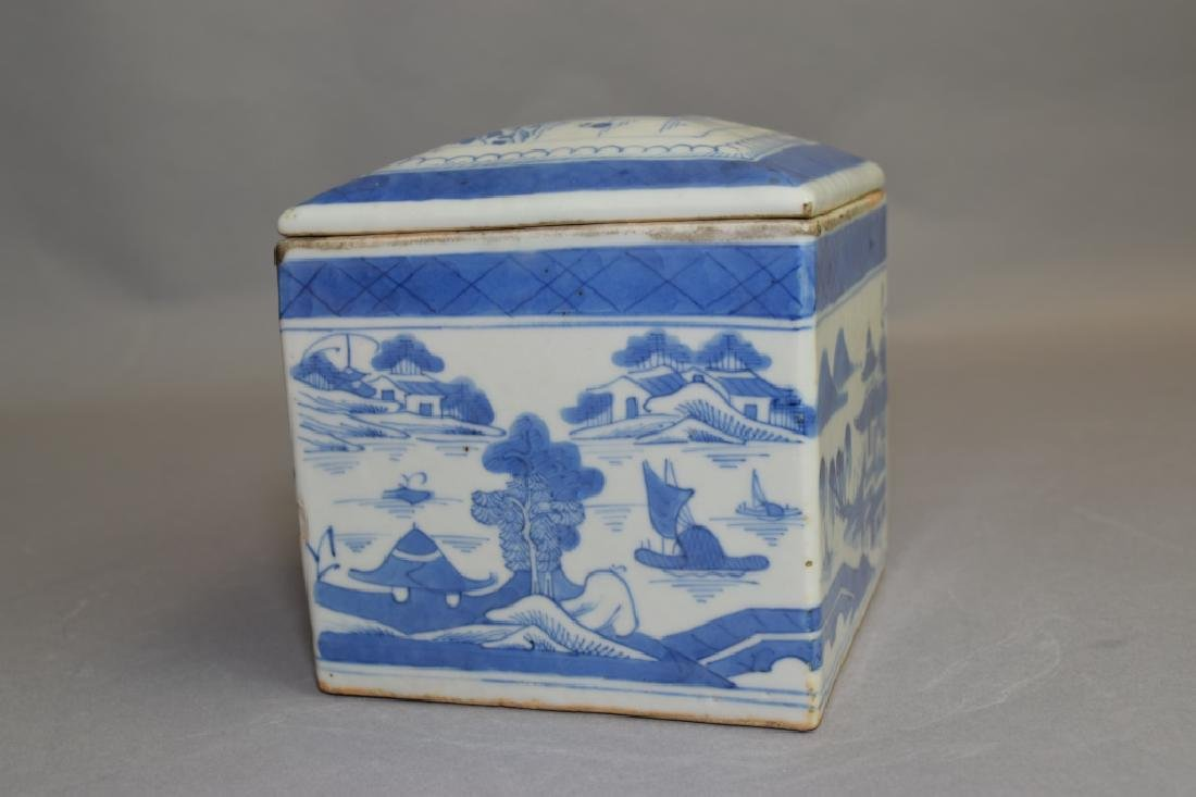 Qing Chinese Blue and White Tea Caddy - 2