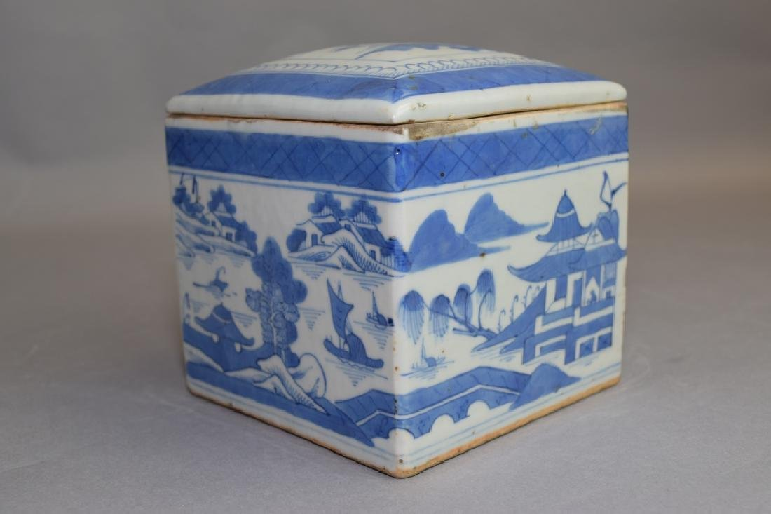 Qing Chinese Blue and White Tea Caddy - 3