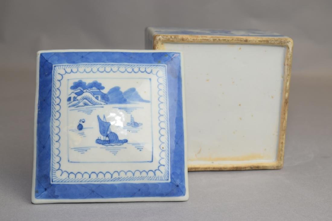 Qing Chinese Blue and White Tea Caddy - 4