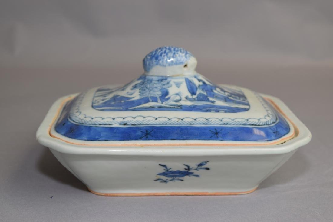 Qing Chinese Blue and White Covered Bowl