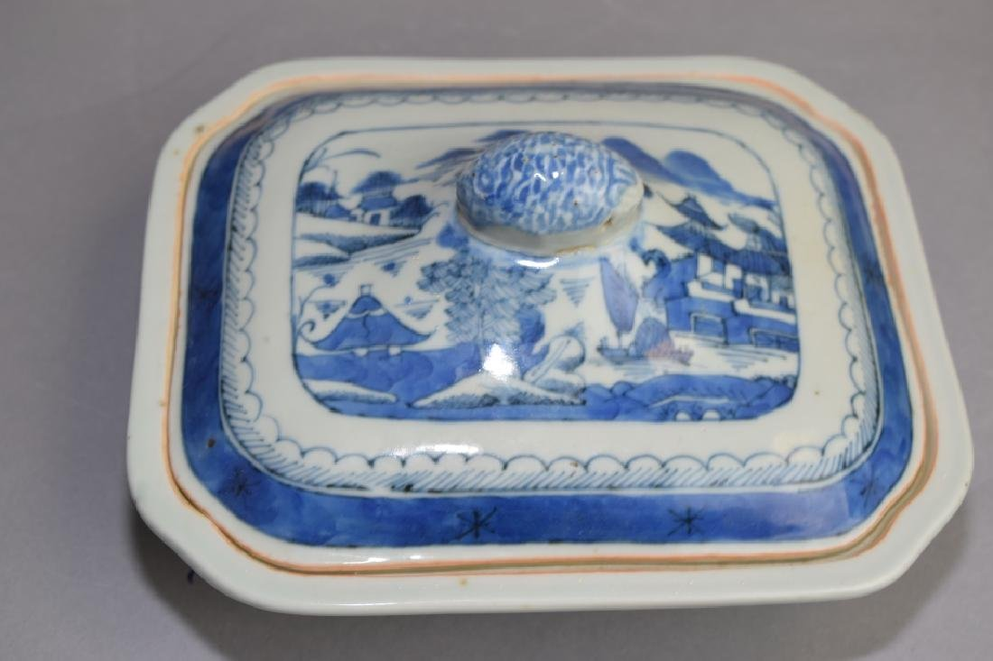Qing Chinese Blue and White Covered Bowl - 2