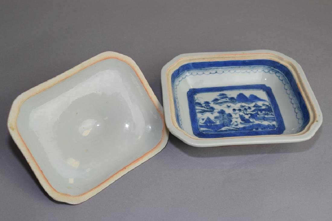 Qing Chinese Blue and White Covered Bowl - 3