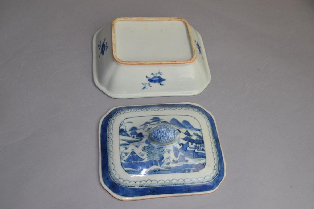 Qing Chinese Blue and White Covered Bowl - 4