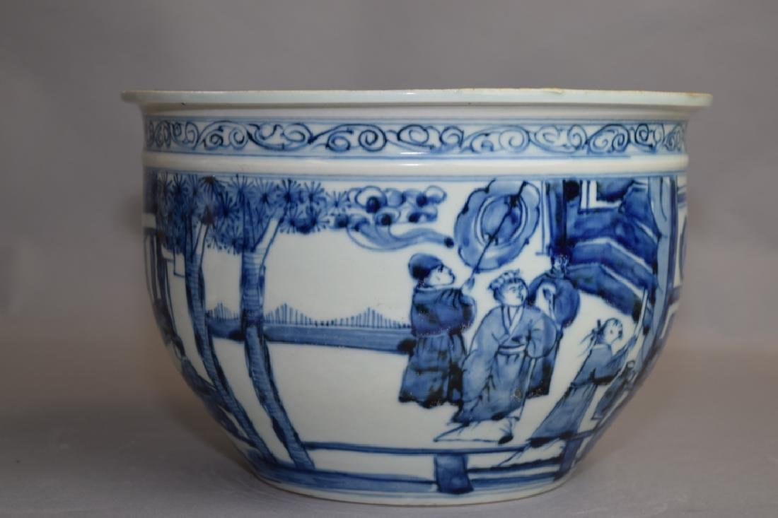 Ming Chinese Blue and White Jardiniere - 2