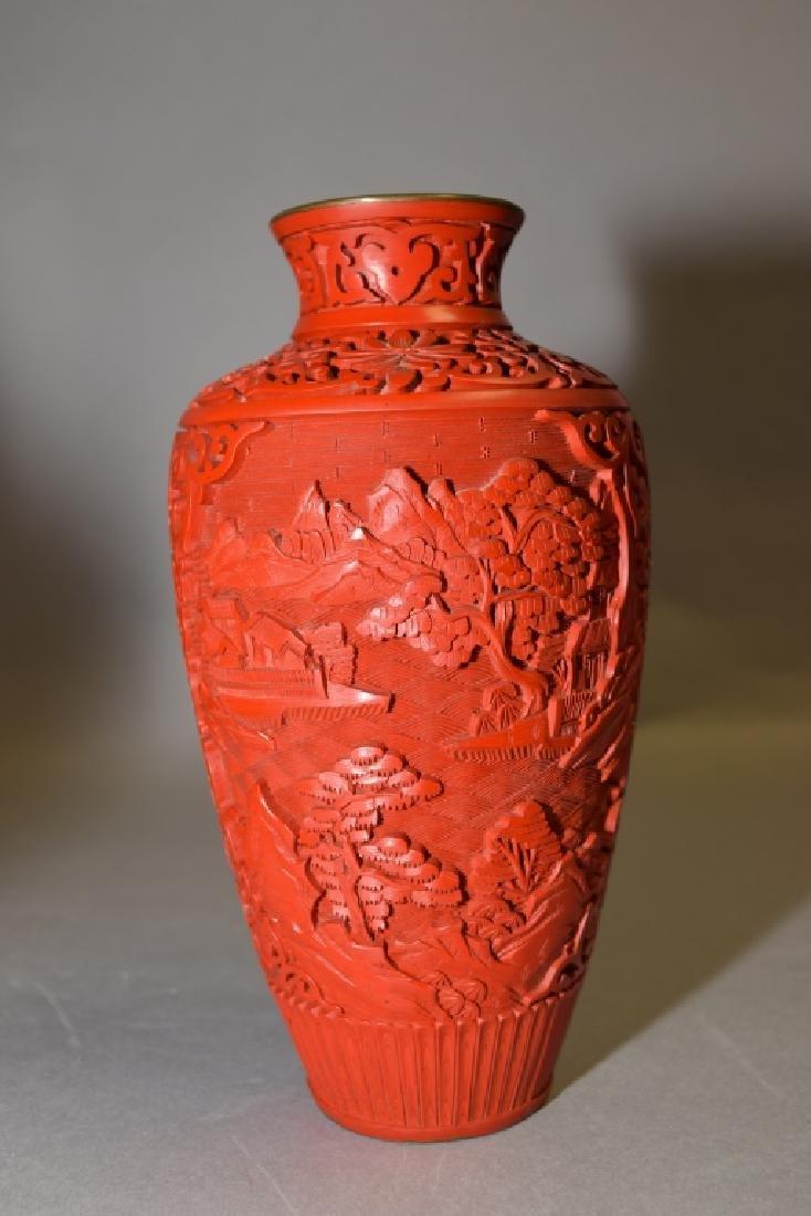 Chinese Cinnabar Carved Vase - 2