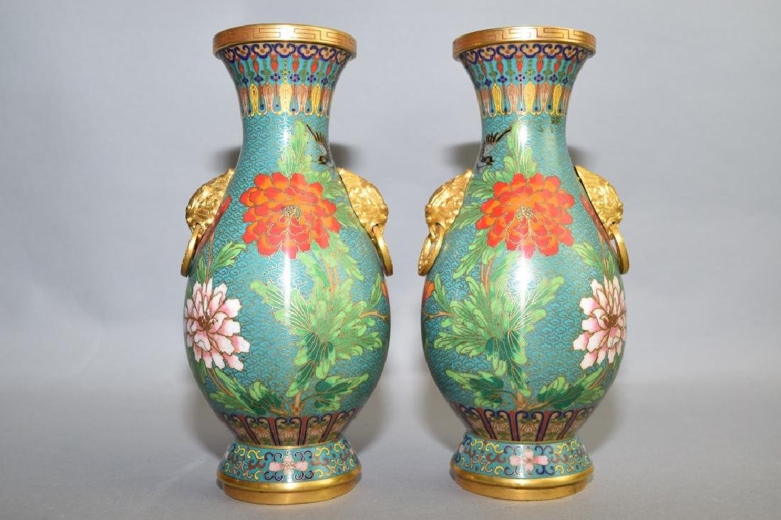 Pair of Republic Chinese Lion Head Cloisonne Vases
