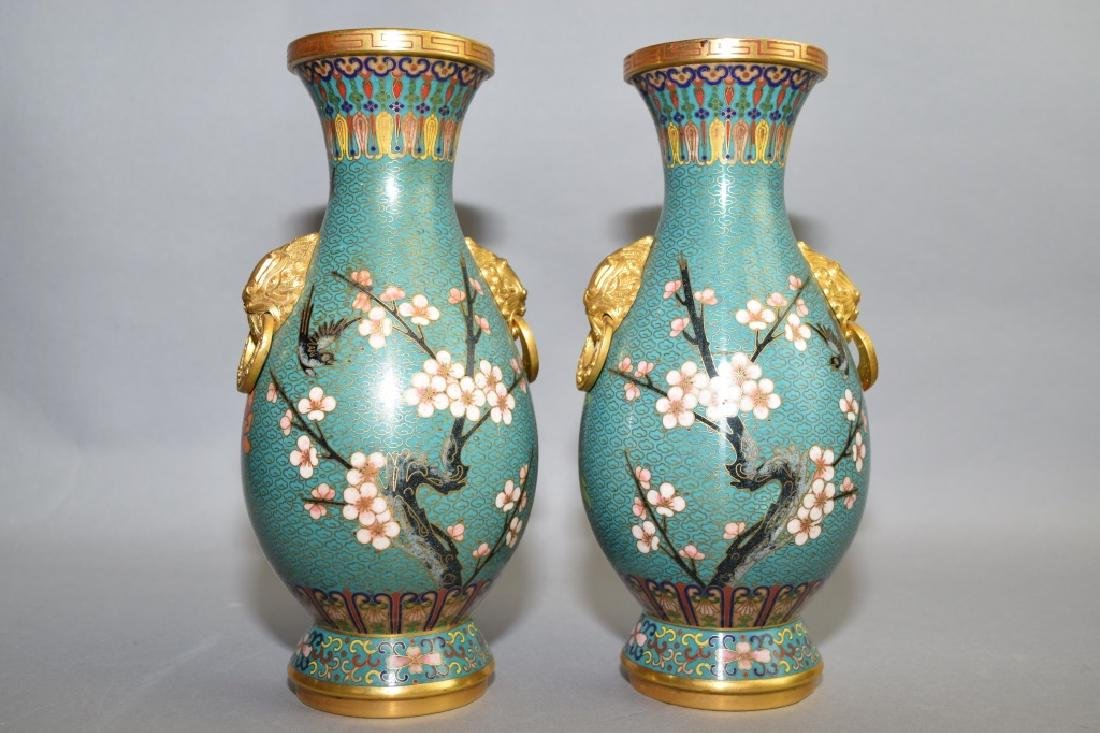Pair of Republic Chinese Lion Head Cloisonne Vases - 3