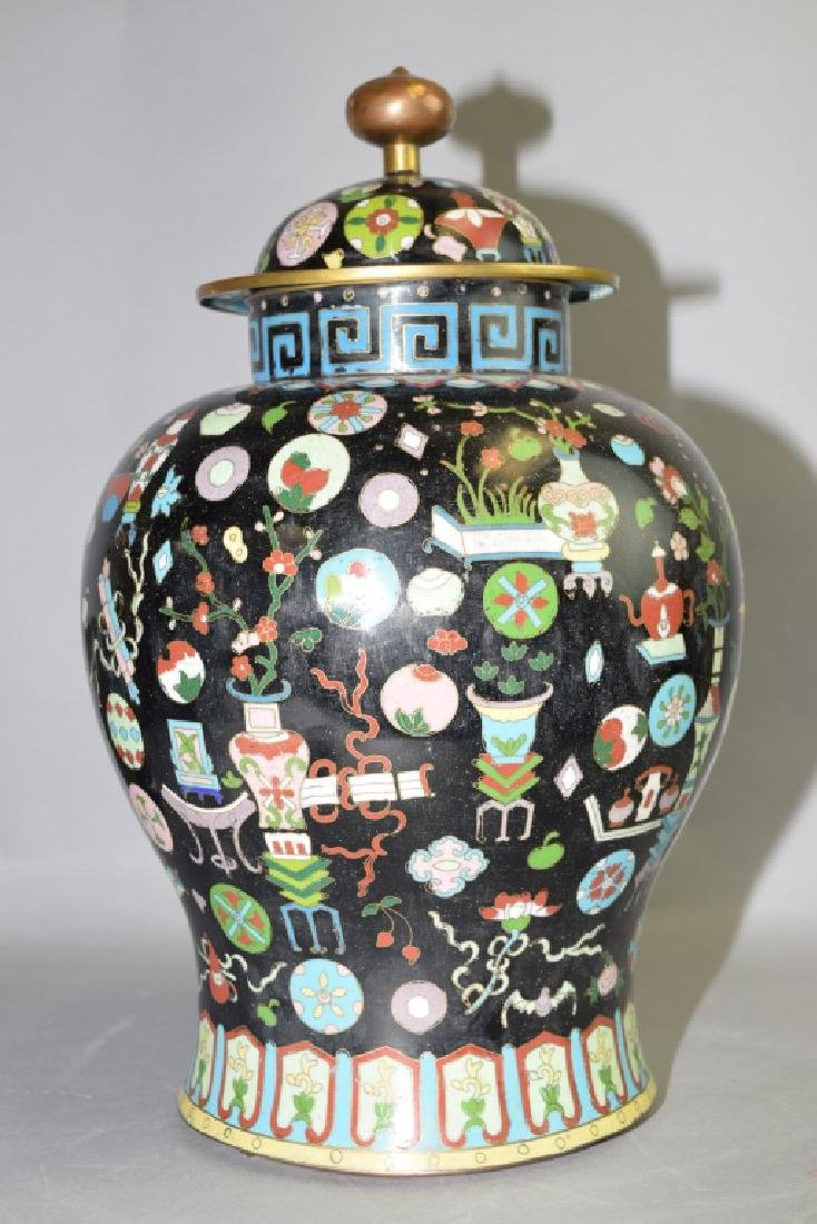 Late Qing/Republic Chinese Cloisonne Covered Jar