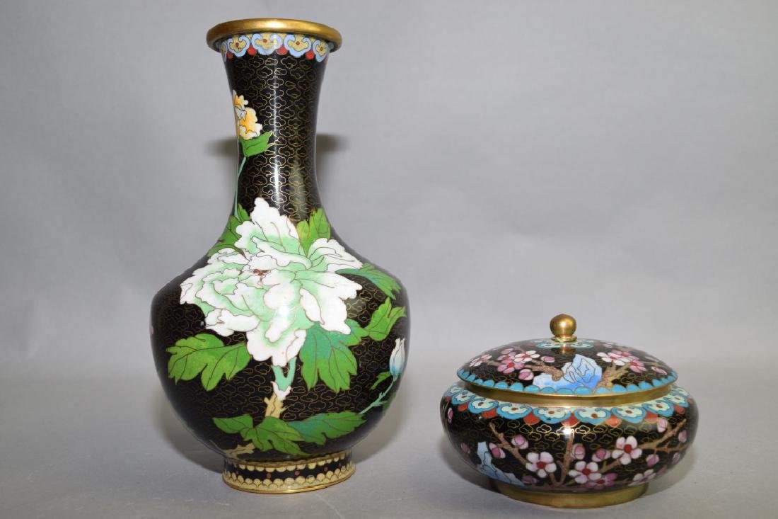 Chinese Cloisonne Vase and Covered Bowl