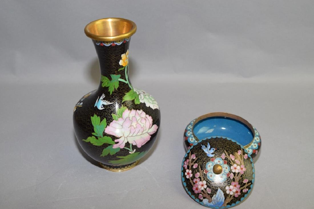 Chinese Cloisonne Vase and Covered Bowl - 2